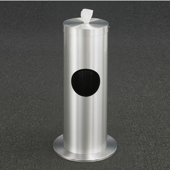 "Glaro Floor Standing 10"" Diameter Waste Bin with Disinfecting Wipe Dispenser Combo in Satin Aluminum"