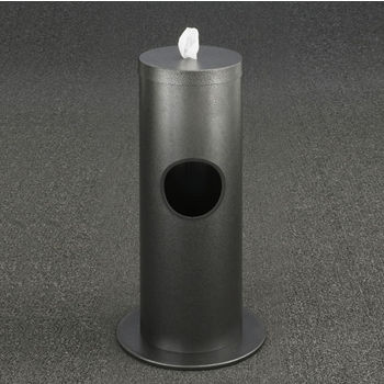 "Glaro Floor Standing 10"" Diameter Waste Bin with Disinfecting Wipe Dispenser Combo in Silver Vein"