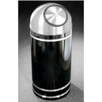 Monte Carlo WasteMaster™ Collection Satin Aluminum Cover Dome Top Waste Receptacle