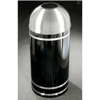 Monte Carlo WasteMaster™ Collection Satin Aluminum Cover Open Dome Top Waste Receptacle