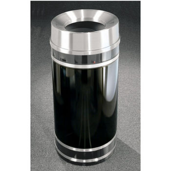 Monte Carlo WasteMaster™ Collection Satin Aluminum Cover Funnel Top Waste Receptacle