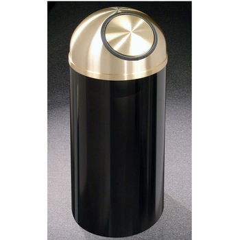 Glaro 8, 12 & 16 Gallon Mount Everest Self Closing Dome Top Waste Receptacles with Satin Brass Covers