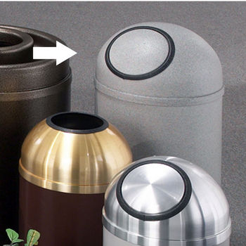 Glaro 8, 12 & 16 Gallon Mount Everest Self Closing Dome Top Waste Receptacles with Matching Powder Coat Cover
