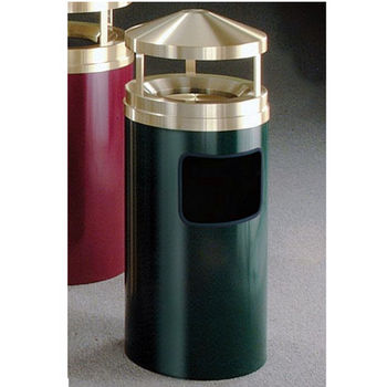 Glaro 7, 11 & 19 Gallon Ash/Trash Canopy Top Wastemasters® with Sand Trays & Satin Brass Covers