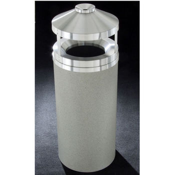 Glaro 12, 16 & 33 Gallon Canopy Top Wastemasters® with Built-In Cigarette Receptacles & Satin Aluminum Covers