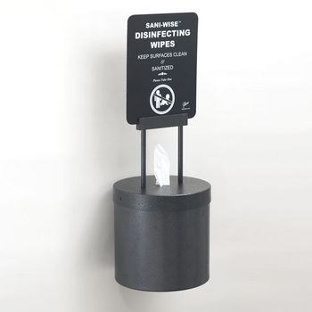 """Glaro Wall Mounted 10"""" Diameter Disinfecting Wipe Dispenser (Includes: Silk Screening Disinfecting Wipe Sign and Adapter Bracket) in Silver Vein"""