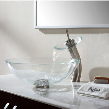 Kraus Crystal Clear Glass Vessel Sink with Satin Nickel Pop-Up Drain & Mounting Ring