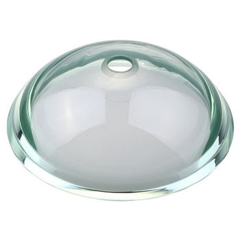 Kraus Clear Glass 34mm Edge Vessel Sink with Pop-Up Drain & Mounting Ring, 17''D x 6''H
