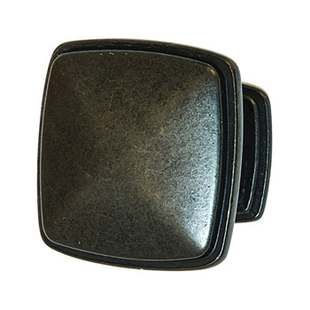 Hafele Keystone Transitional Style Collection Square Knob, Antique Black, 32mm W x 25mm D x 32mm H