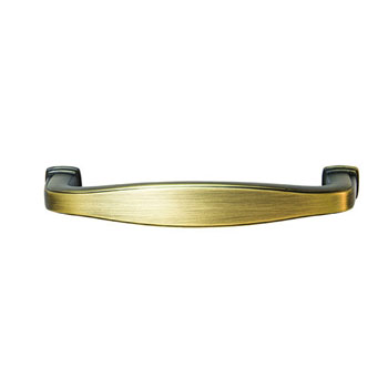 Hafele Keystone Transitional Style Collection Handle, Antique Satin Brass, 108mm W x 15mm D x 27mm H, 96mm Center to Center