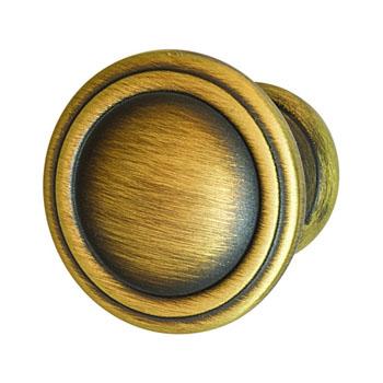 Hafele Keystone Fluted Style Collection Round Knob, Antique Satin Brass, 30mm Diameter