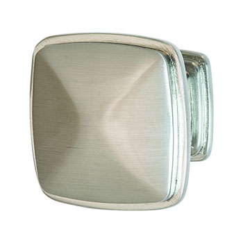 Hafele Keystone Transitional Style Collection Square Knob, Satin Nickel, 32mm W x 25mm D x 32mm H