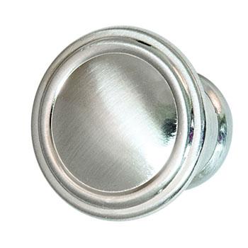 Hafele Keystone Fluted Style Collection Round Knob, Satin Nickel, 30mm Diameter