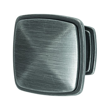 Hafele Keystone Transitional Style Collection Square Knob, Satin Pewter, 32mm W x 25mm D x 32mm H