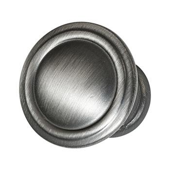 Hafele Keystone Fluted Style Collection Round Knob, Satin Pewter, 30mm Diameter