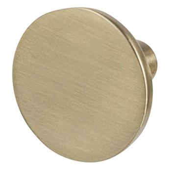 "Cornerstone Series Elite Handle (1-1/8"" Diameter) Mid-Century Modern Knob in Matt Gold"