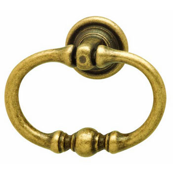 Hafele Rustico Collection Ring Handle in Antique Brass, 55mm W x 45mm H