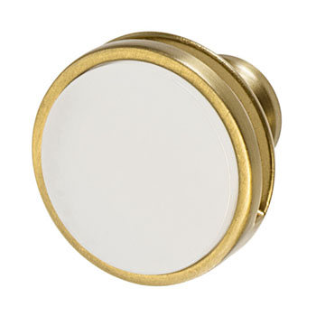 Hafele Amerock Oberon Collection Round Knob, Golden Champagne/ Frosted, 35mm Diameter