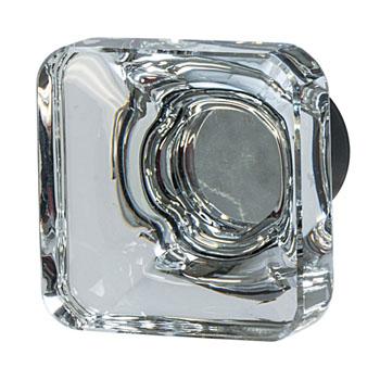 Hafele Amerock Glacio Collection Square Knob, Oil-Rubbed Bronze/ Clear, 35mm W x 35mm D x 33mm H