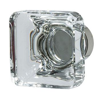 Hafele Amerock Glacio Collection Square Knob, Polished Nickel/ Clear, 35mm W x 35mm D x 33mm H