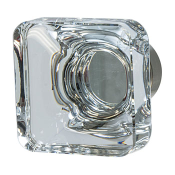 Hafele Amerock Glacio Collection Square Knob, Satin Nickel/ Clear, 35mm W x 35mm D x 33mm H