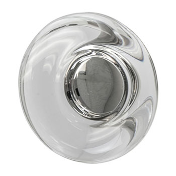 Hafele Amerock Glacio Collection Round Knob, Satin Nickel/ Clear, 44mm Diameter