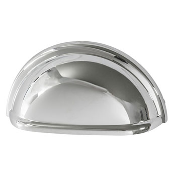 Hafele Amerock Collection Cup Pull, Polished Chrome, 87mm W x 41mm D x 25mm H, 76mm Center to Center
