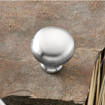 Hafele (1-1/4'') Diameter Mushroom Round Knob in Satin Chrome, 31mm Diameter x 29mm D x 19mm Base Diameter