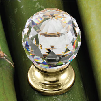 Hafele Astral Collection Crystal Knob in Polished Gold, 30mm W x 42mm D x 25mm Base Diameter