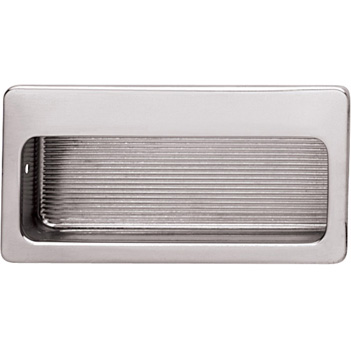 Hafele (3'' W) Mortise Recessed Handle in Polished Nickel, 75mm W x 9mm D x 32mm H