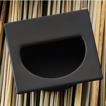 Hafele (1-7/8'' W) Mortise Recessed Square Handle in Matt Black, 47mm W x 11mm D x 47mm H