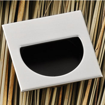 Hafele (1-7/8'' W) Mortise Recessed Square Handle in Matt Nickel/Black, 47mm W x 11mm D x 47mm H