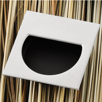 Hafele (2-1/4'' W) Mortise Recessed Square Handle in Matt Nickel/Black, 57mm W x 11mm D x 57mm H