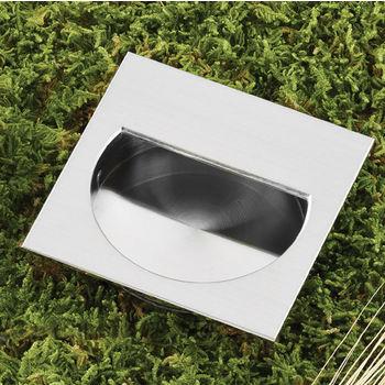 Hafele (2-3/4'' W) Mortise Recessed Square Handle in Matt Nickel, 70mm W x 15mm D x 70mm H