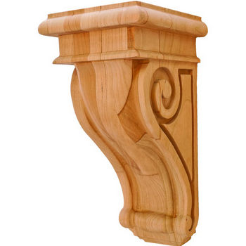 "Hafele scroll Collection Corbel, Cherry, 4-1/4""W x 5""D x 9""H"