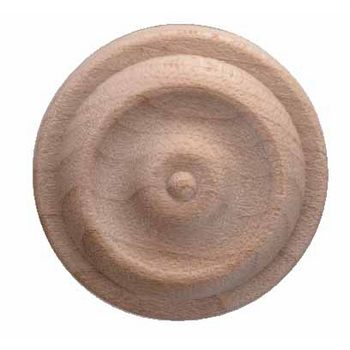 Hafele Wood Ornament, Round, Turned, Rose, 1-1/4'' Dia., x 1/4'' D, Maple