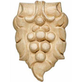 Hafele Bordeaux Collection Hand Carved Ornament Grape Design, 2-5/16'' W x 5/8'' D x 3-1/2'' H