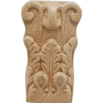Hafele Acanthus Collection Onlay Ornament, Carved, 2-7/8'' W x 1-9/16'' D x 5'' H, Beech