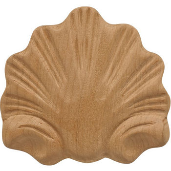 Hafele Wood Ornament, Onlay, Carved, Shell, 3-1/4'' W x 11/32'' D x 2-15/16'' H