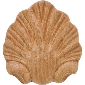 Hafele Wood Ornament, Onlay, Carved, Shell, 2-1/2'' W x-1/2'' D x 2-3/4'' H