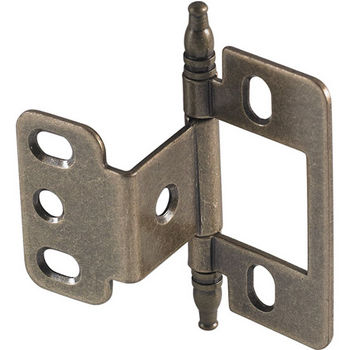 Hafele Partial Wrap Non-Mortise Decorative Butt Hinge with Minaret Finial in Antique Brass, Overall Height: 71mm (2-13/16'')