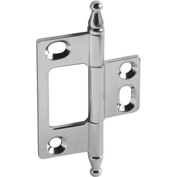Hafele Elite Decorative Non-Mortised Butt Hinge with Minaret Finial in Polished Chrome, Overall Height: 75mm (2-15/16'')