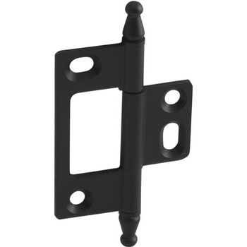Hafele Elite Decorative Non-Mortised Butt Hinge with Minaret Finial in Black, Overall Height: 75mm (2-15/16'')