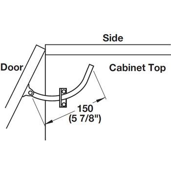 Hafele Lid Stay, Door Restraint, Left or Right Hand, Steel & Nickel-Plated
