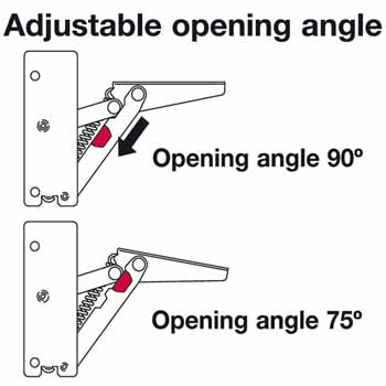 Hafele Swing-Up Fitting, Swingtop II for Wood Doors, with Adjustable Spring
