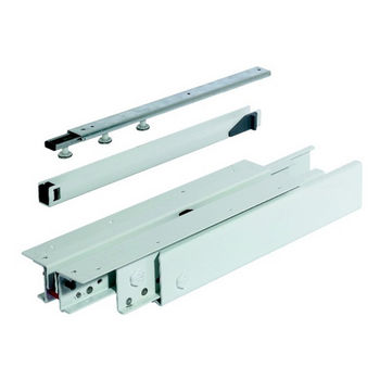 Hafele Pull-Out Cabinet Slide, Top/Bottom Mounted, 3/4 Extension, Steel, Epoxy-Coated White, 440 lbs