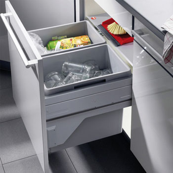 Hafele Euro Cargo S Built-In Pull-Out Bottom Mount Double Waste Bin with Soft Close, Grey, 2 x 32 Quart (8 Gallon)