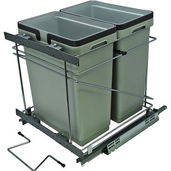 Hafele Salice Pull-Out Bottom Mount Soft Close Double Waste Bin, Silver, 2x 32 Quart (2 x 8 Gallon)