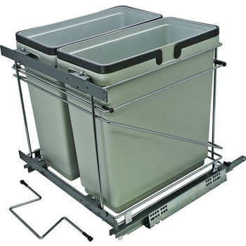 Hafele Salice Pull-Out Bottom Mount Soft Close Double Waste Bin, Silver, 2x 35 Quart (2 x 8.75 Gallon)