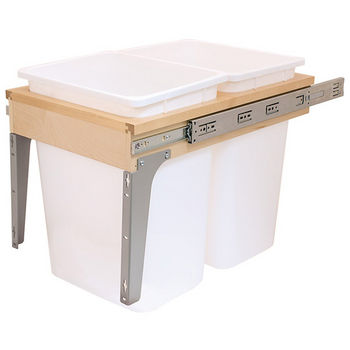 Soft & Silent Wooden Frame Side Mount Double Pull-Out Waste Bin